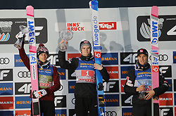 04.01.2020, Bergiselschanze, Innsbruck, AUT, FIS Weltcup Skisprung, Vierschanzentournee, Innsbruck, Siegerehrung, im Bild Die Sieger beim Berg Isel Skispringen in Innsbruck<br /> von links: David Kubacki (Platz 2), Marius Lindvik (Platz 1) und Daniel Andre Tande<br />  (Platz 3) // during the winner Ceremony for the Four Hills Tournament of FIS Ski Jumping World Cup at Bergiselschanze in Innsbruck, Austria on 2020/01/04. EXPA Pictures © 2020, PhotoCredit: EXPA/ SM<br /> <br /> *****ATTENTION - OUT of GER*****