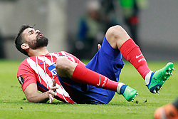 Atletico de Madrid's Diego Costa injured during Europa League semi-final, second leg in Madrid, Spain, May 3, 2018. Atletico won 1-0 and reaches the final. Photo by Acero/Alterphotos/ABACAPRESS.COM