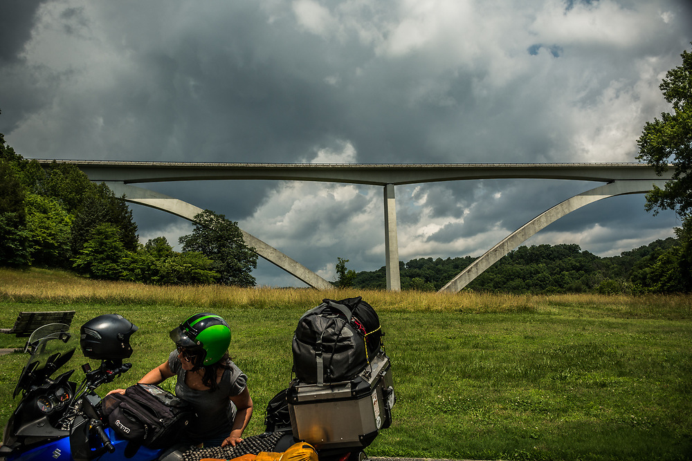 On the Natchez Trace Parkway in Tennessee, the double arch bridge