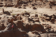 SHOT 10/19/16 2:07:07 PM - Emery County Utah tourism photos including hiking and exploring Goblin Valley including an arch rappel, the Black Dragon Canyon and  mountain biking Saucer Basin with Lamar Guymon. (Photo by Marc Piscotty / © 2016)