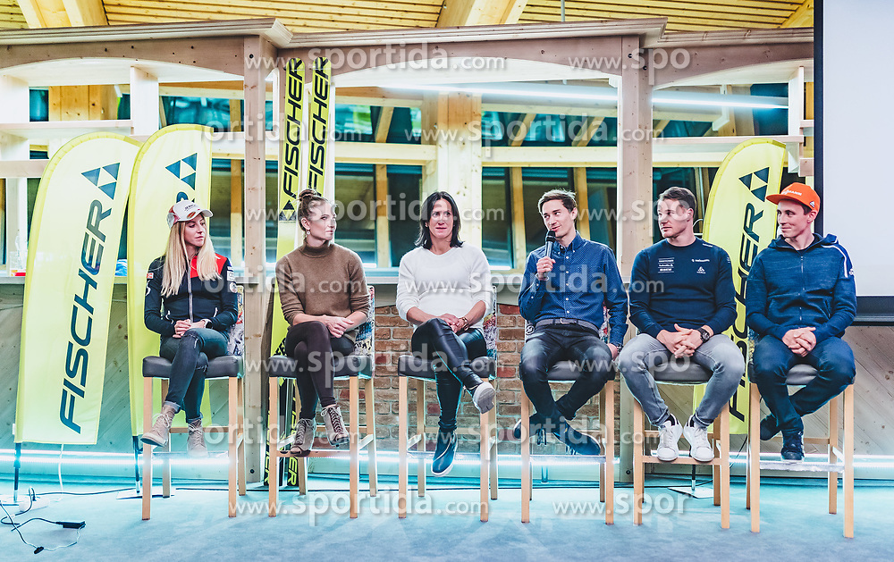 22.10.2018, Olympia Kongress Zentrum, Seefeld, AUT, Forum Nordicum 2018, im Bild Teresa Stadlober (AUT), Darja Domratschewa (BLR), Marit Bjoergen (NOR), Kamil Stoch (POL), Dario Cologna (SUI), Eric Frenzel (GER) // Teresa Stadlober (AUT), Darja Domratschewa (BLR), Marit Bjoergen (NOR), Kamil Stoch (POL), Dario Cologna (SUI), Eric Frenzel (GER) during the Forum Nordicum 2018 at the Olympic Congress Center in Seefeld, Austria on 2018/10/22. EXPA Pictures © 2018, PhotoCredit: EXPA/ JFK