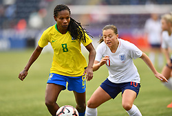 February 27, 2019 - Chester, PA, U.S. - CHESTER, PA - FEBRUARY 27: Brazil Defender Miraildes (8) keeps the ball from England Forward Fran Kirby (10) in the first half during the She Believes Cup game between Brazil and England on February 27, 2019 at Talen Energy Stadium in Chester, PA. (Photo by Kyle Ross/Icon Sportswire) (Credit Image: © Kyle Ross/Icon SMI via ZUMA Press)