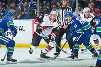 KELOWNA, BC - SEPTEMBER 29:  Michael Grabner #40 of the Arizona Coyotes skates for the puck after facing off against Bo Horvat #53 of the Vancouver Canucks at Prospera Place on September 29, 2018 in Kelowna, Canada. (Photo by Marissa Baecker/NHLI via Getty Images)  *** Local Caption *** Michael Grabner;Bo Horvat
