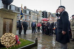 A member of the Royal British Legion salutes after laying a wreath at the war memorial during a service of remembrance at Royal Wootton Bassett, Wiltshire.