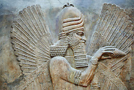 Stone relief sculptured panel of a Genie Blessing. Facade N. Inv AO 19865 from Dur Sharrukin the palace of Assyrian king Sargon II at Khorsabad, 713-706 BC.  Louvre Museum Room 4 , Paris .<br /> <br /> If you prefer to buy from our ALAMY PHOTO LIBRARY  Collection visit : https://www.alamy.com/portfolio/paul-williams-funkystock/ancient-assyria-antiquities.html  Refine search by adding background colour, place, subject, museum etc into the LOWER SEARCH WITHIN GALLERY box to <br /> <br /> Visit our ANCIENT WORLD PHOTO COLLECTIONS for more photos to download or buy as wall art prints https://funkystock.photoshelter.com/gallery-collection/Ancient-World-Art-Antiquities-Historic-Sites-Pictures-Images-of/C00006u26yqSkDOM