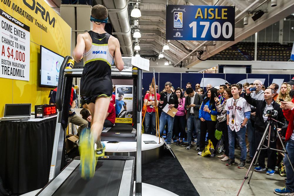 Boston Marathon: Expo, Tyler Andrews sets world record for half marathon on treadmill 1:03:37
