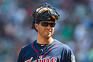 Drew Butera (41) of the Minnesota Twins smiles during a game against the Detroit Tigers on August 15, 2012 at Target Field in Minneapolis, Minnesota.  The Tigers defeated the Twins 5 to 1.  Photo: Ben Krause