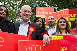 © Licensed to London News Pictures. 06/06/2015. London, UK. John Biggs with Tulip Siddiq and Rupa Huq at a Labour Party rally for Tower Hamlets Mayoral candidate, John Biggs in Altab Ali Park in Tower Hamlets, east London. The three women Bangladeshi London Labour MPs (Rushanara Ali, Tulip Siddiq and Rupa Huq) attended the rally today with Labour Party supporters. Photo credit : Vickie Flores/LNP