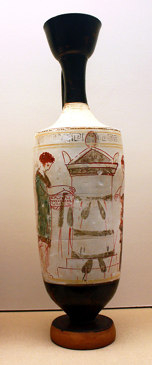 White- ground Lakythos (Oil bottle) Showing a commemorative rite at a tomb. Greek, made in Athens around 420-410BX and said to have been found there (Attributed to the Reed Painter)