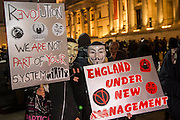 """The gathering in Trafalgar Square is pretty friendly but with a strong police presence - The Million Mask March - anti-establishment protesters in V for Vendetta-inspiredGuy Fawkes masks march from Trafalgar Square to Parliament Square. It was organised by Anonymous, the anarchic 'hacktivist' network. The movement is also closely identified with the Occupy protests, Wikileaks, and the Arab Spring. The UK Anonymouswebsitedescribes the march on Parliament as a """"protest against austerity … the infringement of our rights … mass surveillance … war crimes … corrupt politicians."""""""