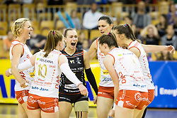 Players of Nova KBM celebrate during final match between Calcit Ljubljana and Nova KBM Branik Maribor in 1st DOL Women League 2015/16, on May 9, 2016, in Arena Tivoli, Ljubljana, Slovenia. OK Calcit Ljubljana became Slovenian Champions 2016. Photo by Vid Ponikvar / Sportida