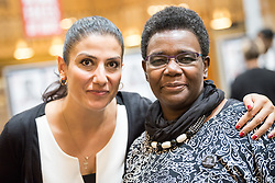 21 September 2017, Geneva, Switzerland: World Council of Churches staff gather for the annual Staff Enrichment Days. On Thursdays, WCC staff wear black, standing up in solidarity with victims of sexual and gender-based violence, for a world without rape and violence. Here, Ani Ghazaryan Drissi (left) and Nyambura Njoroge (right).