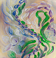 soft swirling flowers abstract art: blue green purple flowers swirl on soft yellow background