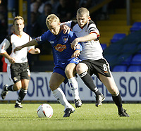 Photo. Aidan Ellis.Digitalsport<br /> Stockport County v Luton Town.<br /> Coca-Cola League Division 1.<br /> 18/09/2004.<br /> Stockport's Danny Jackman and Luton's Kevin Nichollsbattle for possesion
