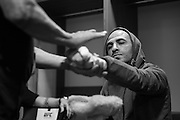 Chico Camus has his hands wrapped before his fight against Henry Cejudo during UFC 188 at the Mexico City Arena in Mexico City, Mexico on June 13, 2015. (Cooper Neill)