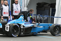 April 28, 2018 - Paris, Ile-de-France, France - Mecanics work in the paddocks during the practice session of the French stage of the Formula E championship around The Invalides Monument close to The Eiffel Tower in Paris on April 28, 2018. (Credit Image: © Michel Stoupak/NurPhoto via ZUMA Press)