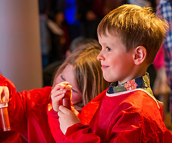 City Arts Centre, Edinburgh, Scotland, United Kingdom, 9 April 2019. Edinburgh Science Festival:  twins Alex and Evie, age 6 years, have fun learning about blood at the Blood Bar drop in event at the Science Festival. <br /> <br /> Sally Anderson | EdinburghElitemedia.co.uk