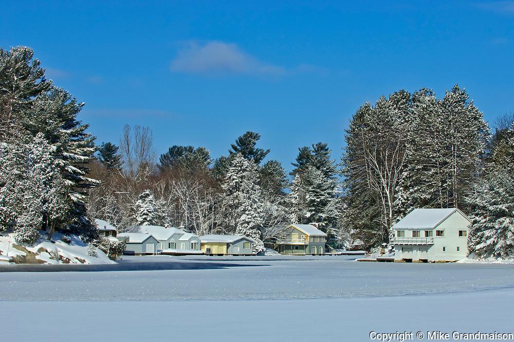 Cottage on frozen Lake Rosseau<br />Port Sydney<br />Ontario<br />Canada