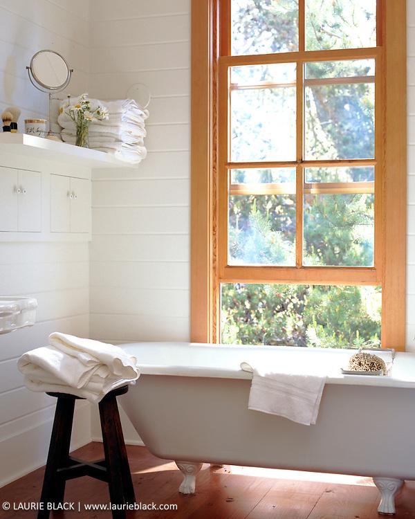 Sunny clawfoot bathtub and window.