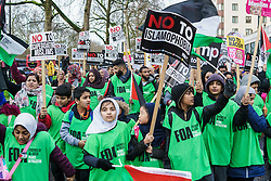 © Licensed to London News Pictures. <br /> 4/2/2017. London, United Kindgom.  <br /> Thousands of protesters march through central London after the US President Trump banned travel visas for several majority Muslim Countries<br /> Photo credit: Anthony Upton/LNP