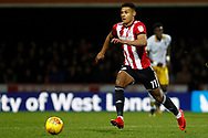 Ollie Watkins of Brentford in action. EFL Skybet football league championship match, Brentford v Sheffield Wednesday at Griffin Park in London on Saturday 30th December 2017.<br /> pic by Steffan Bowen, Andrew Orchard sports photography.