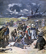 Storms in France, 19 November 1893: Scenes near Calais with bodies from shipwreck being recovered and identified. From 'Le Petit Journal', Paris, 9 December 1893. Weather, Wind, Wave, Grief, Bereavement,  Women, Seamen