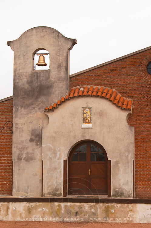 The main winery building built in colonial style with its bell tower Bodega Bouza Winery, Canelones, Montevideo, Uruguay, South America