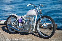 "Jeff Leighton's 1950 Triumph 650 Pre-Unit ""ORCRIST"" at the docks before the Mooneyes Yokohama Hot Rod & Custom Show. Yokohama, Japan. December 5, 2015.  Photography ©2015 Michael Lichter."