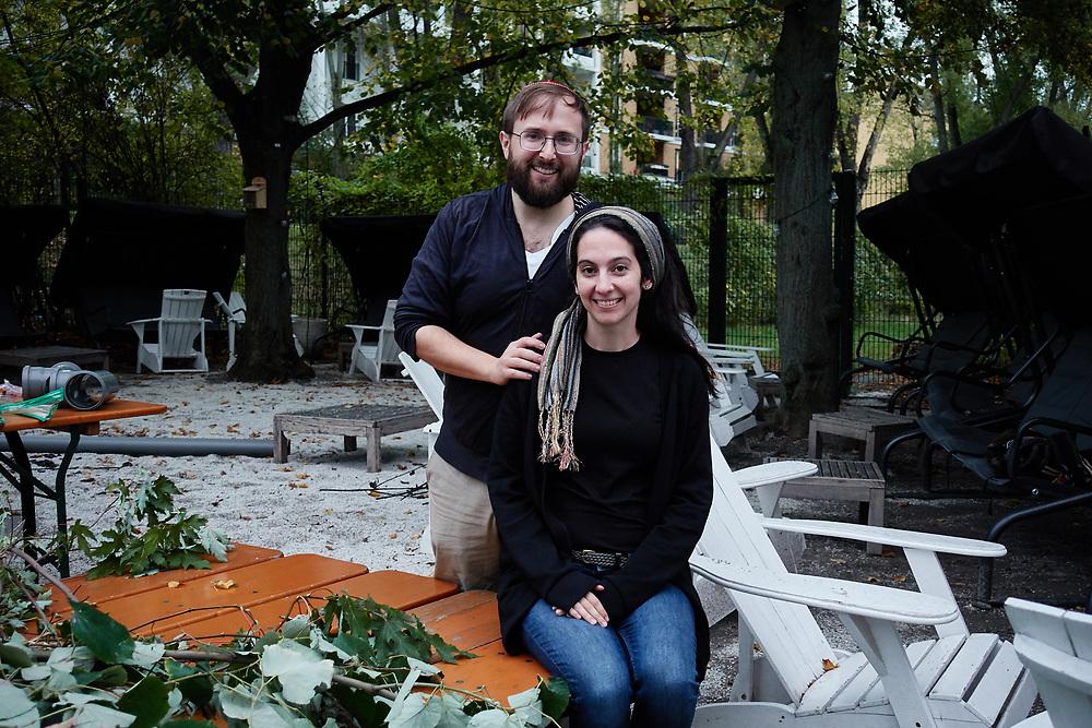 Germany, , 2019/10/17<br /> <br /> Sukkah of BASE BERLIN at Golgatha. 17/10/2019. (Photo by Gregor Zielke) Rebecca Blady and Jeremy Borovitz