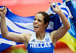 Ekateríni Stefanídi of Greece celebrates after she won in the Pole Vault Women Final on day two of the 2017 European Athletics Indoor Championships at the Kombank Arena on March 4, 2017 in Belgrade, Serbia. Photo by Vid Ponikvar / Sportida