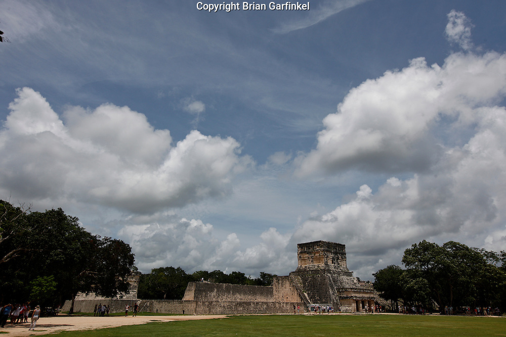 """The """"Court"""" where ball games were played to the death at Chichen Itza Mayan ruins near Piste, Mexico"""