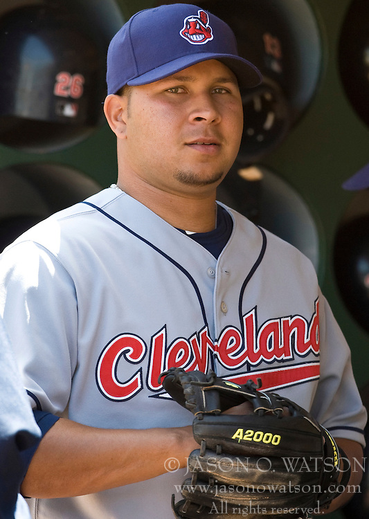 April 24, 2010; Oakland, CA, USA;  Cleveland Indians third baseman Jhonny Peralta (2) before the game against the Oakland Athletics at Oakland-Alameda County Coliseum.  Cleveland defeated Oakland 6-1.