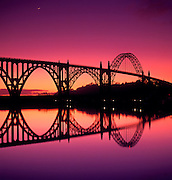 Image of the Yaquina Bay Bridge at sunset south of Newport, Oregon, Pacific Northwest by Randy Wells