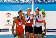Seville. Andalusia. SPAIN.  Men's Lightweight single sculls medals left. Silver medal, POR LM1X; Pedro FRAGA, middle Gold Medalist DEN LM1X Henrik STEPHANSEN and Bronze Medallist, GER LM1X Jonathan KOCK. 2013 FISA European Rowing Championship.  Guadalquivir River.  Sunday   02/06/2013  [Mandatory Credit. Peter Spurrier/Intersport]