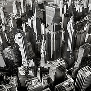 Aerial view of Lower Manhattan, New York CIty in black and white.