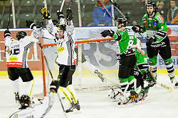 26.01.2014, Hala Tivoli, Ljubljana, SLO, EBEL, HDD Telemach Olimpija Ljubljana vs Dornbirner Eishockey Club, 4. Plazierungsrunde, in picture palyers of Dorbirner Eishockey Club celebrate goal during the Erste Bank Icehockey League 4th Placing round between HDD Telemach Olimpija Ljubljana and Dornbirner Eishockey Club at the Hala Tivoli, Ljubljana, Slovenia on 2014/01/26. Photo by Urban Urbanc/ Sportida