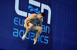 France's Alexis Jandard during the Men's 1m Springboard Preliminary  during day six of the 2018 European Championships at Scotstoun Sports Campus, Glasgow. PRESS ASSOCIATION Photo. Picture date: Tuesday August 7, 2018. See PA story DIVING European. Photo credit should read: Ian Rutherford/PA Wire. RESTRICTIONS: Editorial use only, no commercial use without prior permission