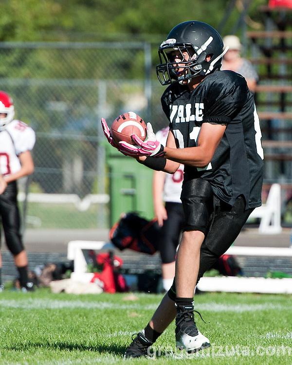 TJ Speelman. Vale Melba 8th grade football, September 22, 2015, Vale high School, Vale, Oregon.