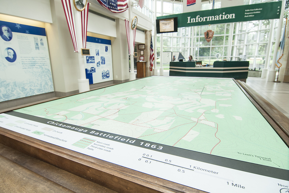 A large table map at the visitor center at Chickamauga & Chattanooga National Military Park in Fort Oglethorpe, GA on Thursday, July 23, 2015. Copyright 2015 Jason Barnette