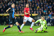 Goal Manchester United forward Anthony Martial (9) sees his shot go in for 1-1 during the Europa League match between Club Brugge and Manchester United at Jan Breydel Stadion, Brugge, Belguim on 20 February 2020.