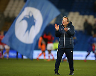 Neil Warnock, the Cardiff city manager applauds the fans after the game.EFL Skybet championship match, Cardiff city v Barnsley at the Cardiff city stadium in Cardiff, South Wales on Tuesday 6th March 2018.<br /> pic by Andrew Orchard, Andrew Orchard sports photography.
