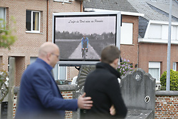 April 24, 2018 - Heist-Op-Den-Berg, FRANCE - A screen pictured outside the church for the funeral ceremony for cyclist Michael Goolaerts, Tuesday 24 April 2018 in Hallaar, Heist-Op-Den-Berg. Michael Goolaerts died after a crash in the Paris-Roubaix race on Sunday 8 April 2018, he was 23 years old...BELGA PHOTO DIRK WAEM (Credit Image: © Dirk Waem/Belga via ZUMA Press)