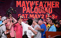 April 28.2015. Las Vegas NV. Manny  Pacquiao(L) take some selfies with his trainer Freddi Roach(R)Tuesday at the Mandalay Bay. Manny  Pacquiao  will be fighting Floyd Mayweather Jr. the long awaited fight in May 2nd at the MGM grand hotel.<br /> Photo by Gene Blevins/LA DailyNews