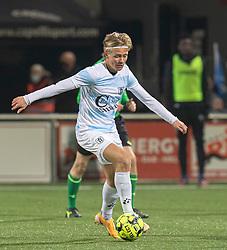 Carl Lange (FC Helsingør) under kampen i 1. Division mellem HB Køge og FC Helsingør den 4. december 2020 på Capelli Sport Stadion i Køge (Foto: Claus Birch).