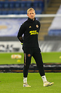 Single player portrait full body Kasper Schmeichel of Leicester City during the Europa League match between Leicester City and AEK Athens at the King Power Stadium, Leicester, England on 10 December 2020.