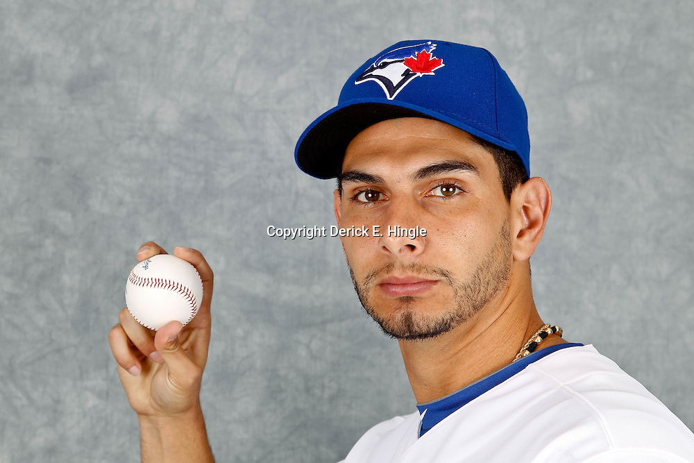 March 2, 2012; Dunedin, FL, USA; Toronto Blue Jays relief pitcher Robert Coello (56) poses for a portrait during photo day at Florida Auto Exchange Stadium.  Mandatory Credit: Derick E. Hingle-US PRESSWIRE