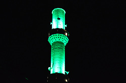 June 21, 2017 - Ankara, Turkey - A mosque's minaret is pictured at night in the holy month of Ramadan in Ankara, Turkey on June 21, 2017. (Credit Image: © Altan Gocher/NurPhoto via ZUMA Press)