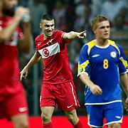 Turkey's Burak YILMAZ celebrate his goal during their UEFA EURO 2012 Qualifying round Group A soccer match Turkey betwen Kazakhstan at TT Arena Istanbul September 02, 2011. Photo by TURKPIX