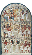 Ancient Egyptian funerary stele of painter Maya, limestone, New Kingdom, 18th Dynasty, (1336-1292 BC), Deir el-Medina,  Egyptian Museum, Turin. . Drovetti cat 1579. white background<br /> <br /> <br /> In the upper portion Maya and his wife Tamit pay homage to Osiris and Hathor, the gods of the necropolis. In the lower register is a similar scene in which his wife recieves food offerings from their many children, as was traditional at the time. .<br /> <br /> If you prefer to buy from our ALAMY PHOTO LIBRARY  Collection visit : https://www.alamy.com/portfolio/paul-williams-funkystock/ancient-egyptian-art-artefacts.html  . Type -   Turin   - into the LOWER SEARCH WITHIN GALLERY box. Refine search by adding background colour, subject etc<br /> <br /> Visit our ANCIENT WORLD PHOTO COLLECTIONS for more photos to download or buy as wall art prints https://funkystock.photoshelter.com/gallery-collection/Ancient-World-Art-Antiquities-Historic-Sites-Pictures-Images-of/C00006u26yqSkDOM