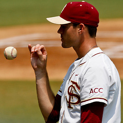 June 06, 2011; Tallahassee, FL, USA; Florida State Seminoles first baseman Jayce Boyd tosses a ball before resuming play in the Tallahassee regional of the 2011 NCAA baseball tournament game that was suspended due to severe weather last night at Dick Howser Stadium. Mandatory Credit: Derick E. Hingle